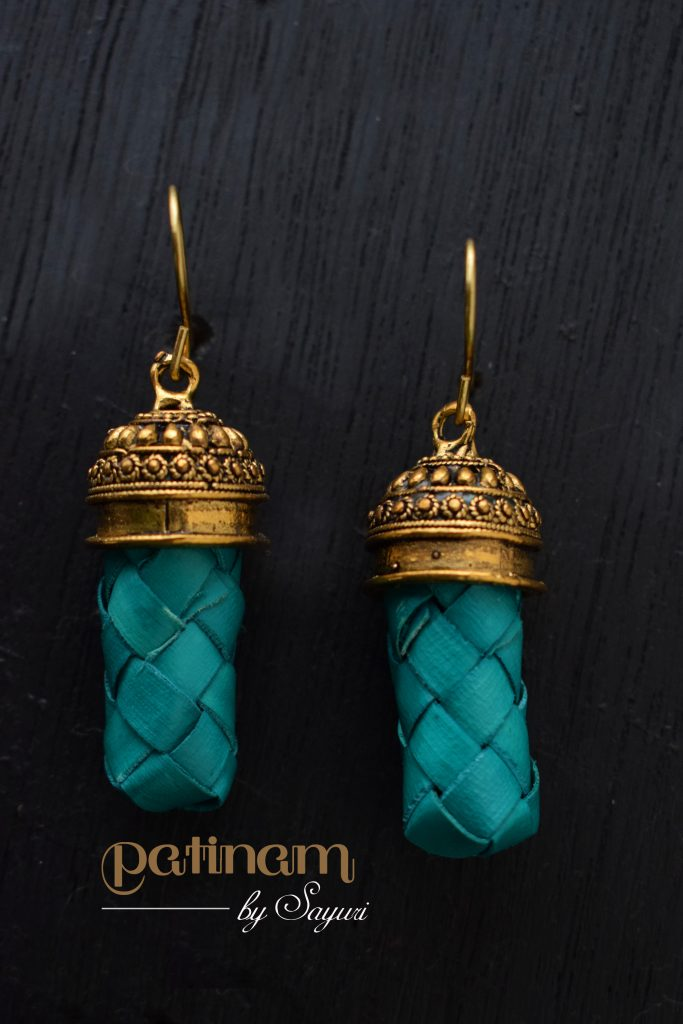 dark teal palm leaf earrings