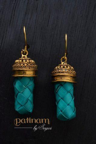 dark teal palm leaf earrings
