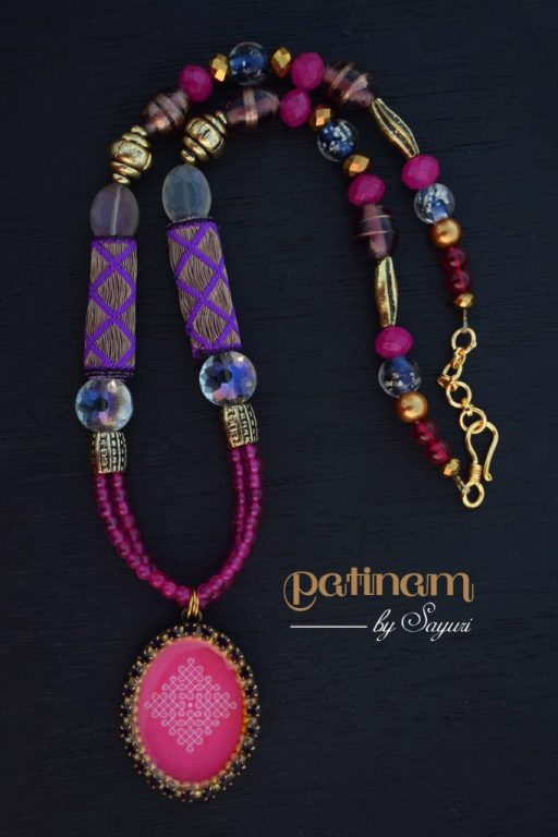 pink purple kolam necklace