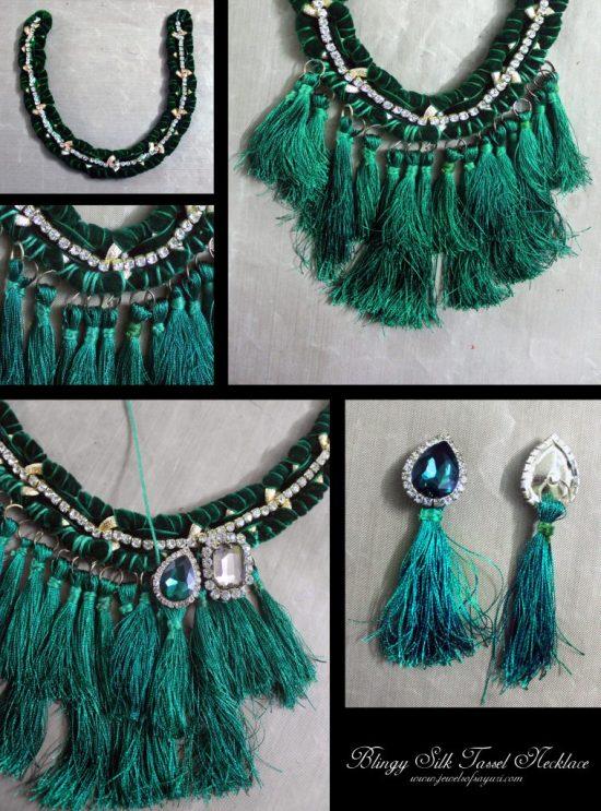DIY Blingy Silk tassel necklace tutorial