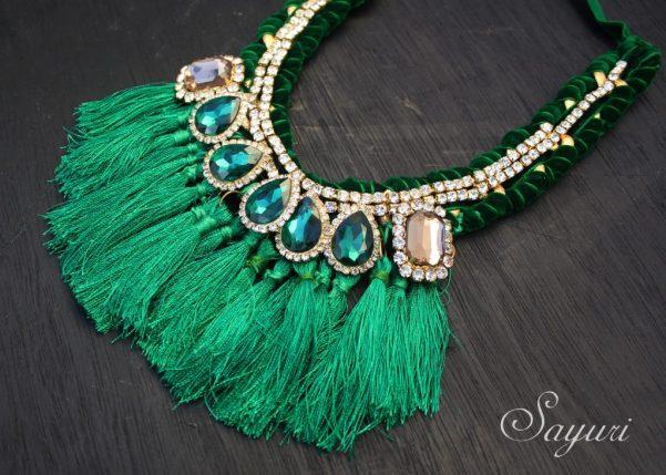 Bling Silk tassel necklace by SAyuri