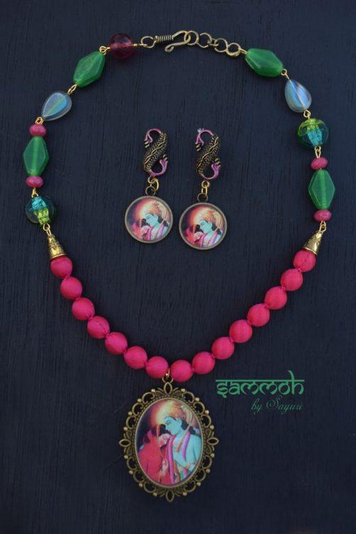 rama sita fabric bead necklace