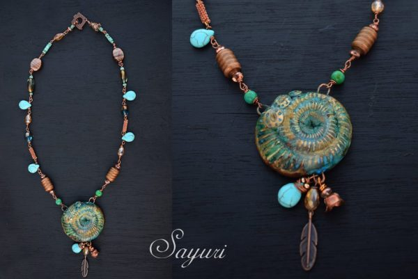 turquoise and copper necklace by Divya N for sayuri