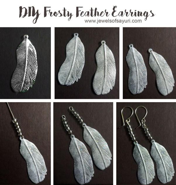 5c87213443558d Ninth Blog anniversary DIY Frosty feather earrings | Jewels of sayuri