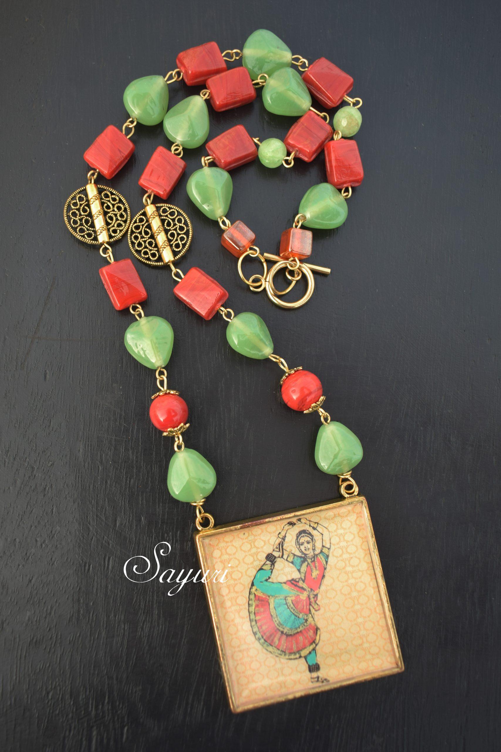 bharathanatyam red green pendant
