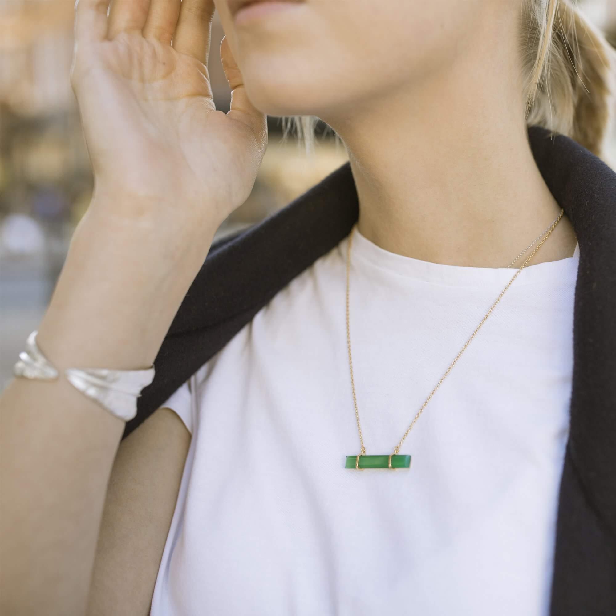 Urban Bar Necklace Green Onyx