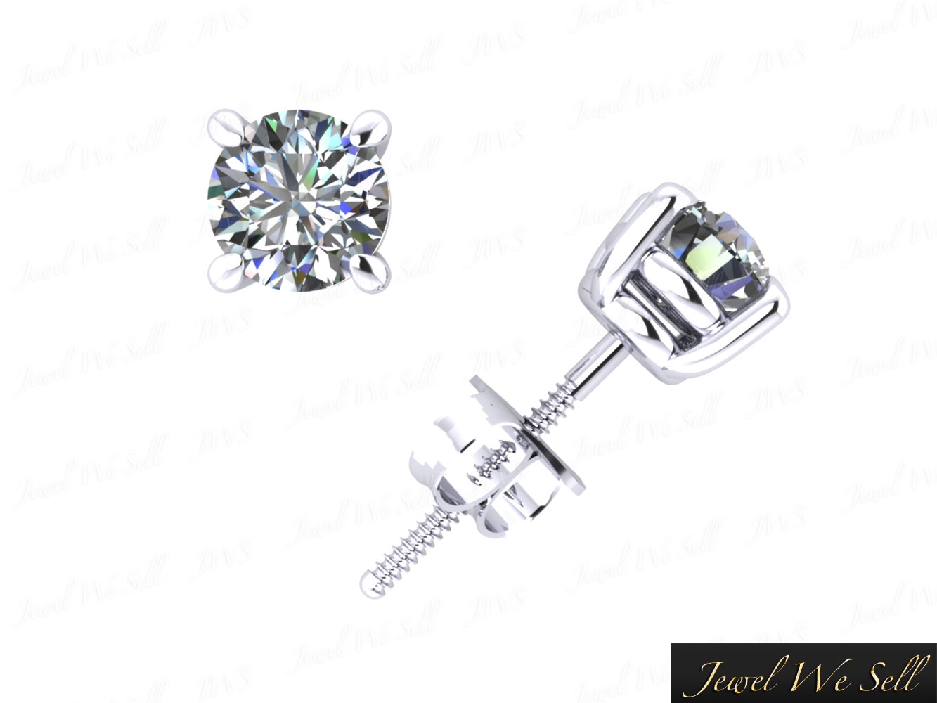 Genuine 0 75ct Round Cut Diamond Basket Stud Earrings 14k