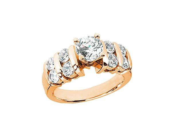 1.4ct Diamond 2row Open Engagement Ring 10k Rose White Yellow Gold