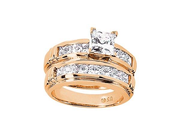 2.25ct Princess Diamond Engagement Ring Wedding Band