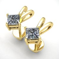 0.2ct Princess Cut Diamond Ladies For Her Solitaire Stud ...