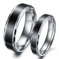 Black Titanium Steel Promise Ring For Lovers Couple ...