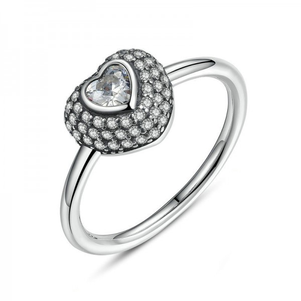 Personalized Slim Heart-Shaped Engagement Ring In S925