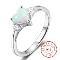 925 Sterling Silver Women's Heart Cut Opal Stone Promise