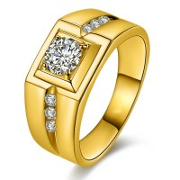 Domineering Plated 24K Gold Diamond Ring - Mens Rings