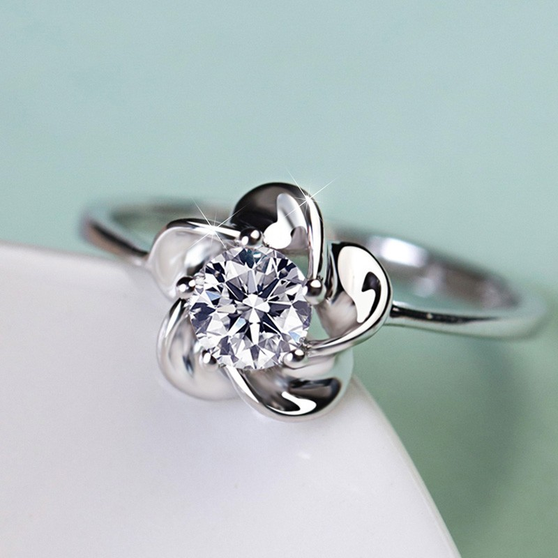 Pure Temperament 925 Sterling Silver Elegant Flower Shaped