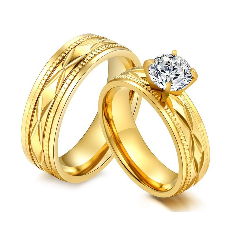 Fashion Carved Four Claw Mosaic Cubic Zirconia Couple