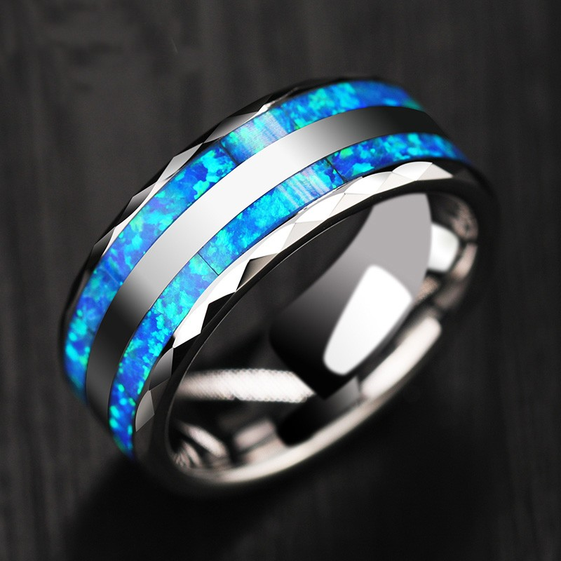 Personalized Opal Mens Tungsten Ring  Promise Ring For