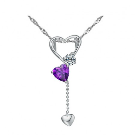 Fashion Cube Crystal 925 Silver Necklace