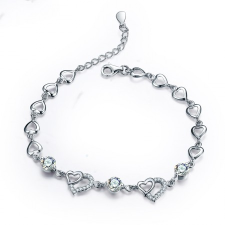 Swarovski Elements Heart-Shaped Crystal S925 Silver