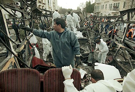 Paramedics and rescue workers at the site of a terror attack in Jerusalem. In 1996 an Arab suicide bomber blew himself up on a bus, killing 26 people, and injuring 80 more on February 26, 1996.