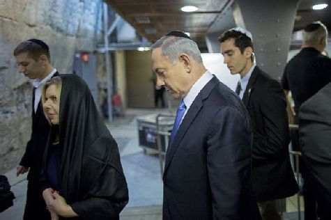 Prime Minister Binyamin Netanyahu and his wife Sara go to the Western Wall following an historic fourth landslide win at the polls.