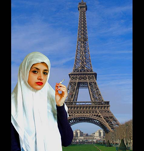 Crimes of Fashion / Photo credit: Gideon Wright; image credits: 'White Girl' by Sarah Maple, Eiffel Tower by ~europestock.