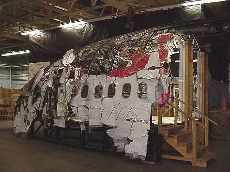 Part of a Swissair blown fuselage following a crash.