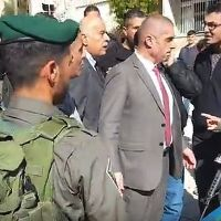 Jibril Rajoub Curses Israeli Policewoman From Behind Safety of Bodyguards (video)