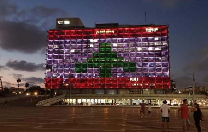 lebanon flag tel aviv
