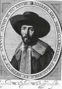 Gravure van Joseph Delmedigo, in 1628 vervaardigd door W. Delff naar een portret geschilderd door W. C. Duyster