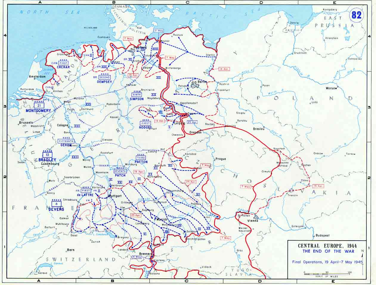 Map Of Final Allied Operations Of World War Ii April May