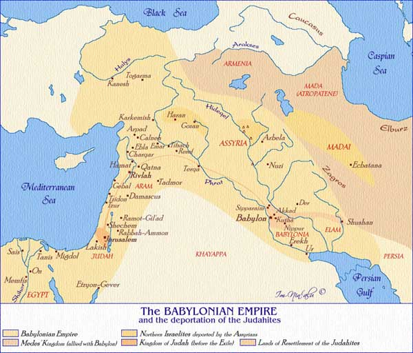 Map Jewish Exile Babylon And Persia