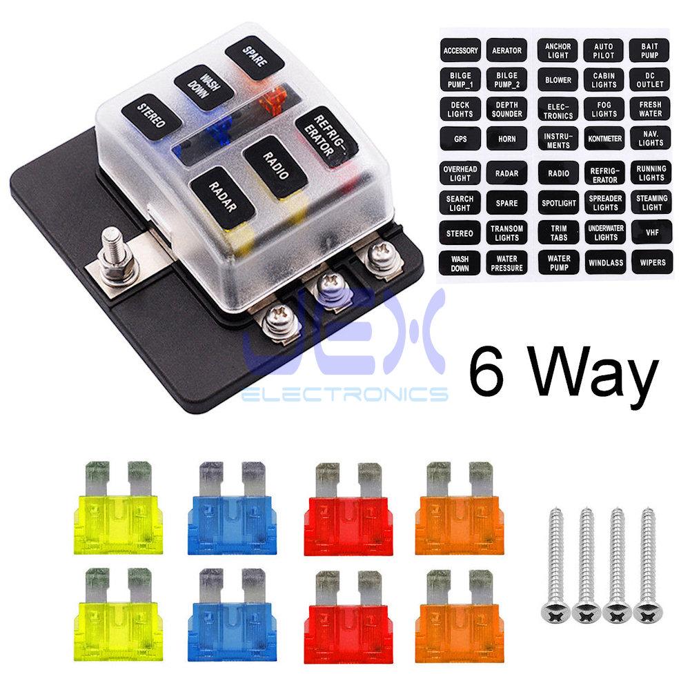 hight resolution of 6 way atc ato blade fuse box holder power block distribution for car rv trailer