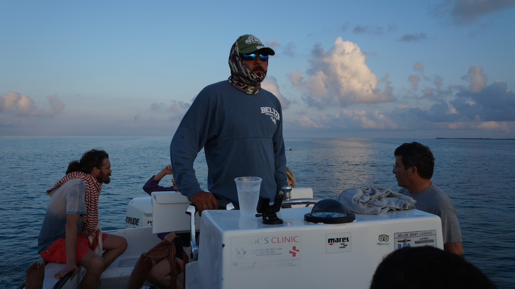 Morning ride to the Blue Hole with the captain on our speed boat