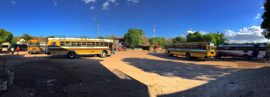 Buses waiting for you after the border of Nicaragua