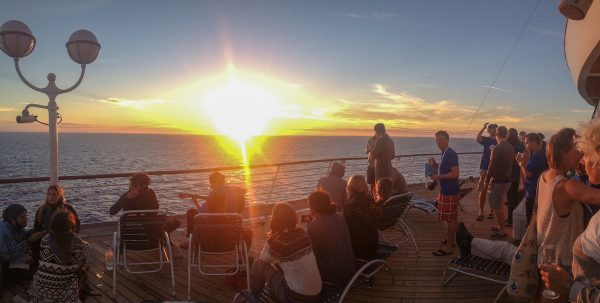 2018 Digital Nomad Events: Chilling on the deck to watch the sunset after a day of workshops during our Nomad Cruise in 2016