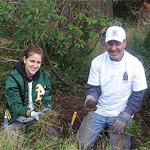 volunteers in the AIDS Grove in Golden Gate Park