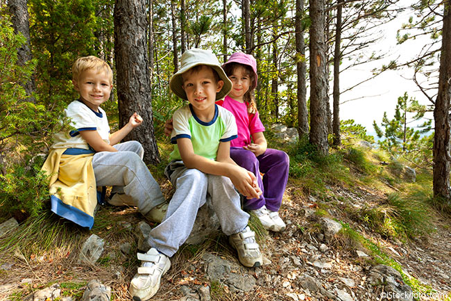 group of kids in the woods