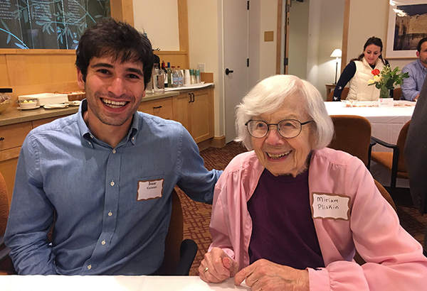 Isaac Guttman visits with Holocaust survivor, Miriam Pliskin