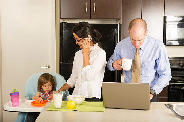 entire family using digital devices