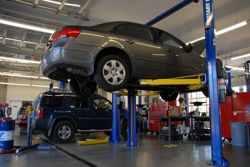 A car in an auto shop