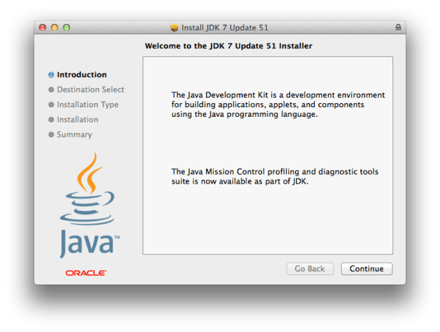 JDK welcome screen