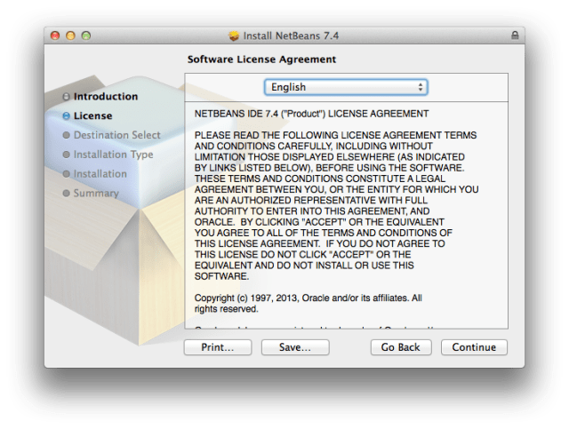 NetBeans license agreement