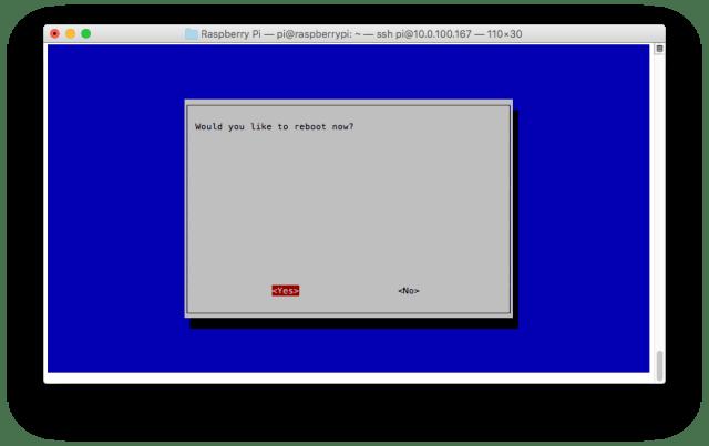 Raspberry Pi Configuration Tool (raspi-config) - Reboot
