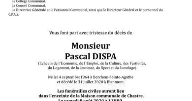 Les funérailles de Pascal Dispa auront lieu le 8 août