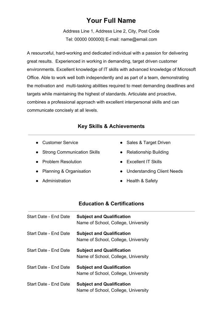 Free Microsoft Word CV Template