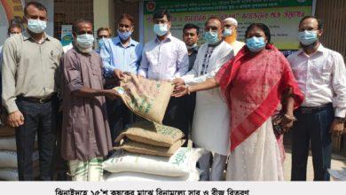 Photo of ঝিনাইদহে কৃষকের মাঝে প্রণোদনা সার ও বীজ বিতরণ