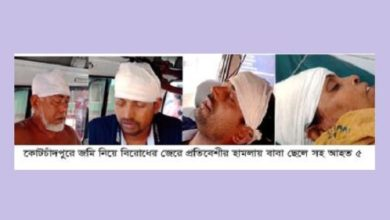 Photo of কোটচাঁদপুরে জমিজমা বিরোধে হামলায়, বাবা-ছেলে সহ আহত ৫