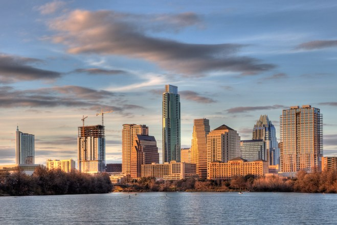 photograph of Austin's skyline, featuring the Austonian building