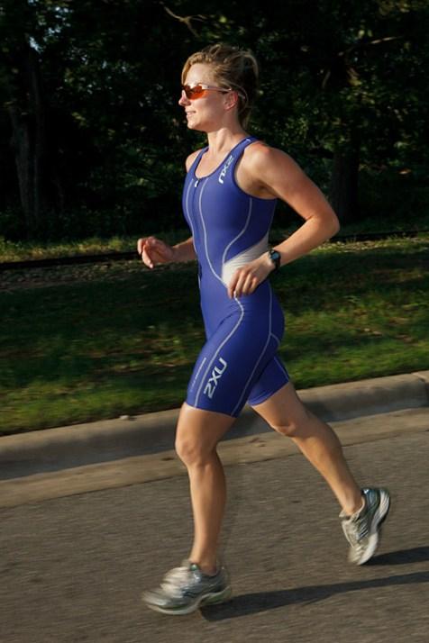 female jogging triathlete